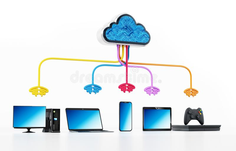 Diagrama de computação da nuvem com vário dispositivo conectado ilustração 3D ilustração stock
