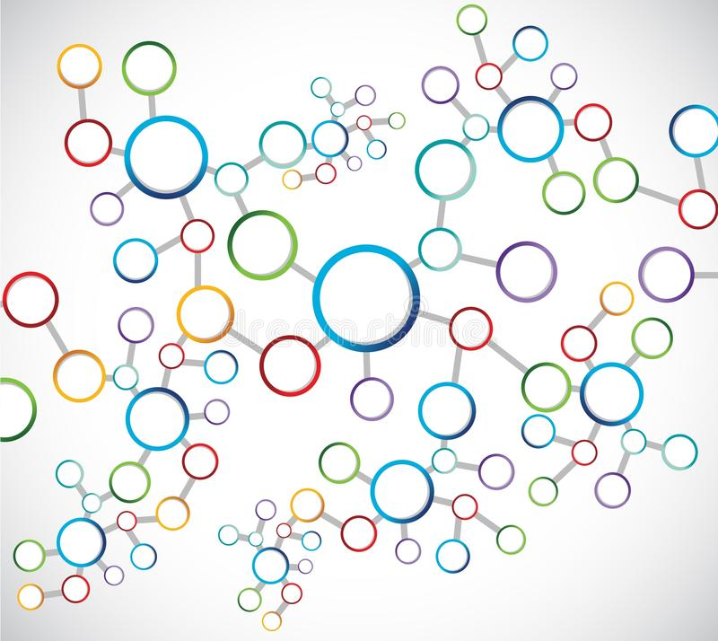 Diagrama de conexión de red de los átomos del color ilustración del vector