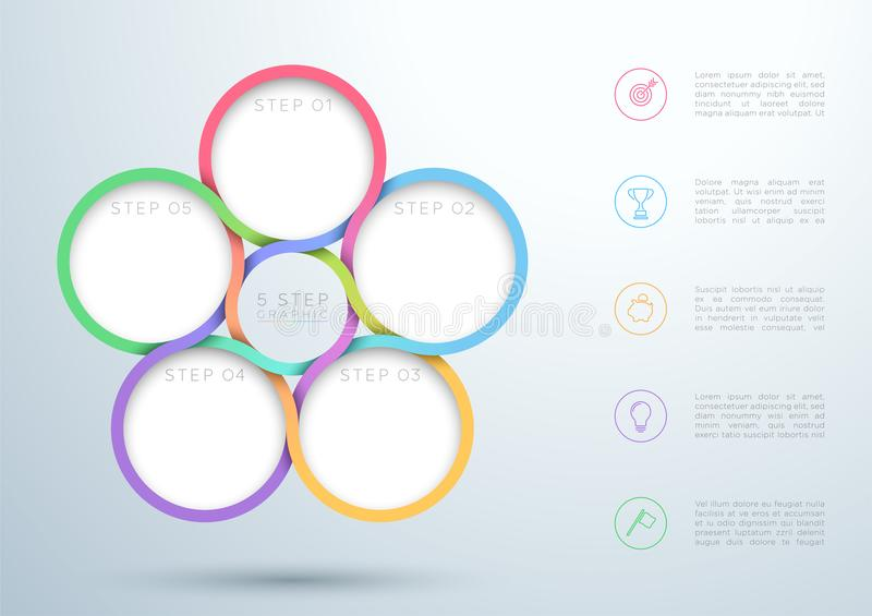 Diagrama de entrelaçamento colorido do círculo de 5 etapas de Infographic ilustração royalty free