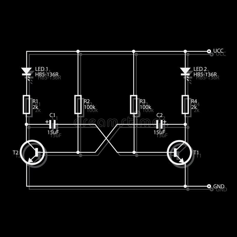 Diagrama de fiação para a eletrônica ilustração do vetor