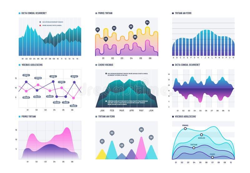 Diagrama de Infographic Gráficos de barra de las estadísticas, diagramas económicos y cartas comunes Elementos del vector del inf libre illustration