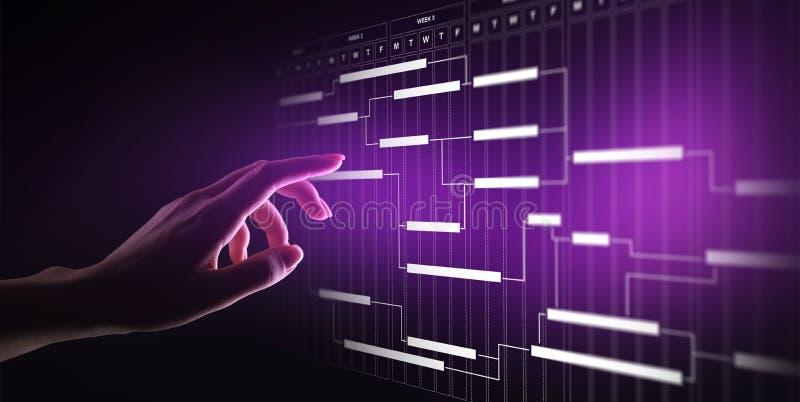 Diagrama de la gestión del proyecto, gestión de tiempo, negocio y concepto de la tecnología en la pantalla virtual fotos de archivo