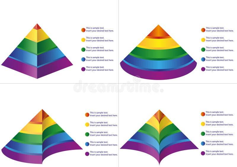 Diagrama de la pirámide de cinco pasos ilustración del vector