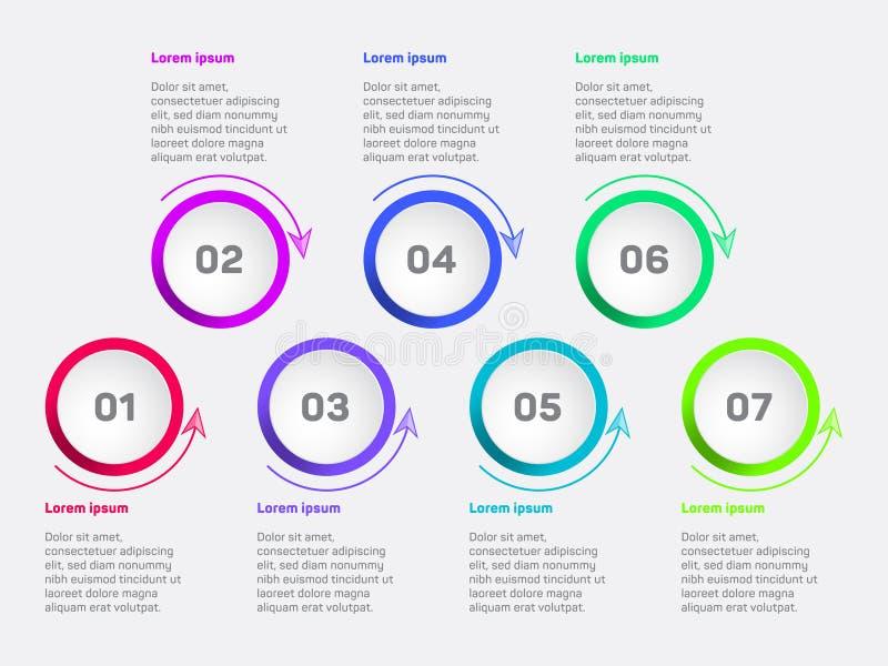 Diagrama de la visualización de los datos de negocio Plantilla infographic del vector de los iconos de la cronología, diseño de p libre illustration