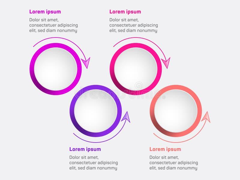 Diagrama de la visualización de los datos de negocio Plantilla infographic del vector de los iconos de la cronología, diseño de p ilustración del vector