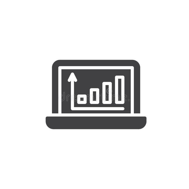 Diagrama de las estadísticas en icono del vector de la pantalla del ordenador portátil stock de ilustración