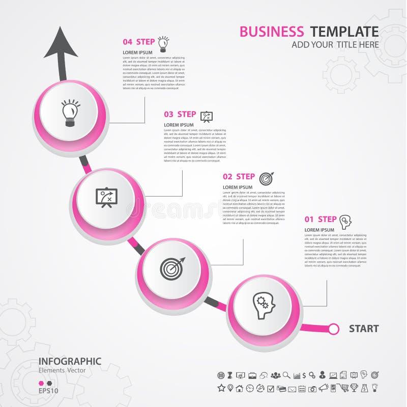 Diagrama de los elementos de Infographics con 4 pasos, opciones, ejemplo del vector, icono del círculo, presentación, anuncio libre illustration