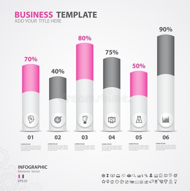 Diagrama de los elementos de Infographics con 6 pasos, opciones, ejemplo del vector, icono del cilindro 3d stock de ilustración