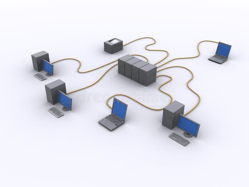 Diagrama de red atado con alambre stock de ilustración