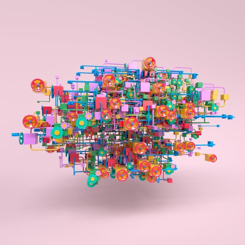 Diagrama de red complejo del flujo de trabajo stock de ilustración