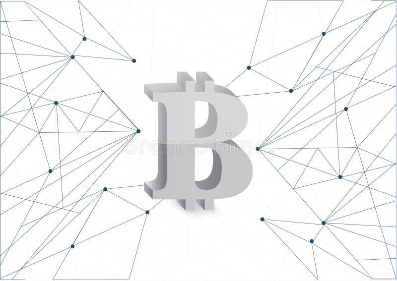 Diagrama de rede da moeda da prata de Bitcoin ilustração stock