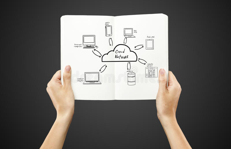 Diagrama de rede da nuvem imagens de stock