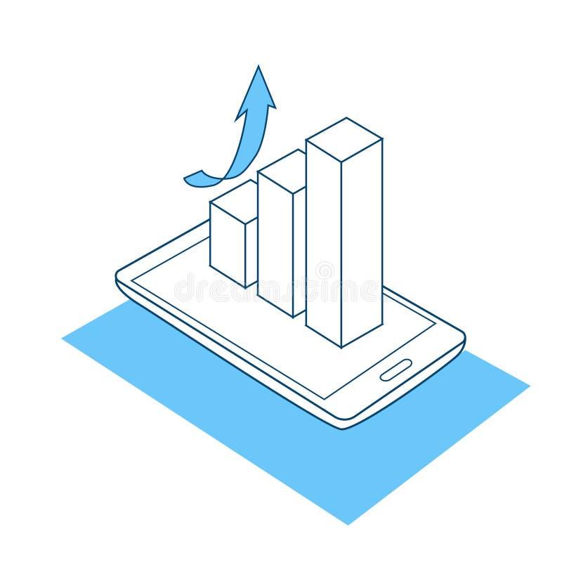 Diagrama de seta móvel do crescimento do conceito da analítica do negócio da aplicação dos gráficos financeiros sobre o fundo bra ilustração royalty free