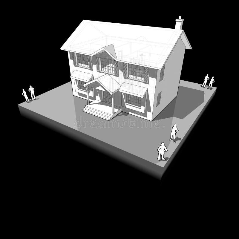 Diagrama de uma casa colonial clássica ilustração royalty free