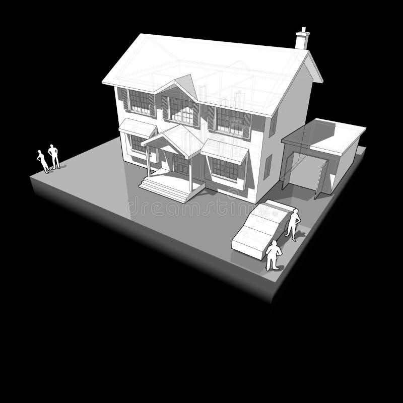 Diagrama de uma casa colonial clássica ilustração stock