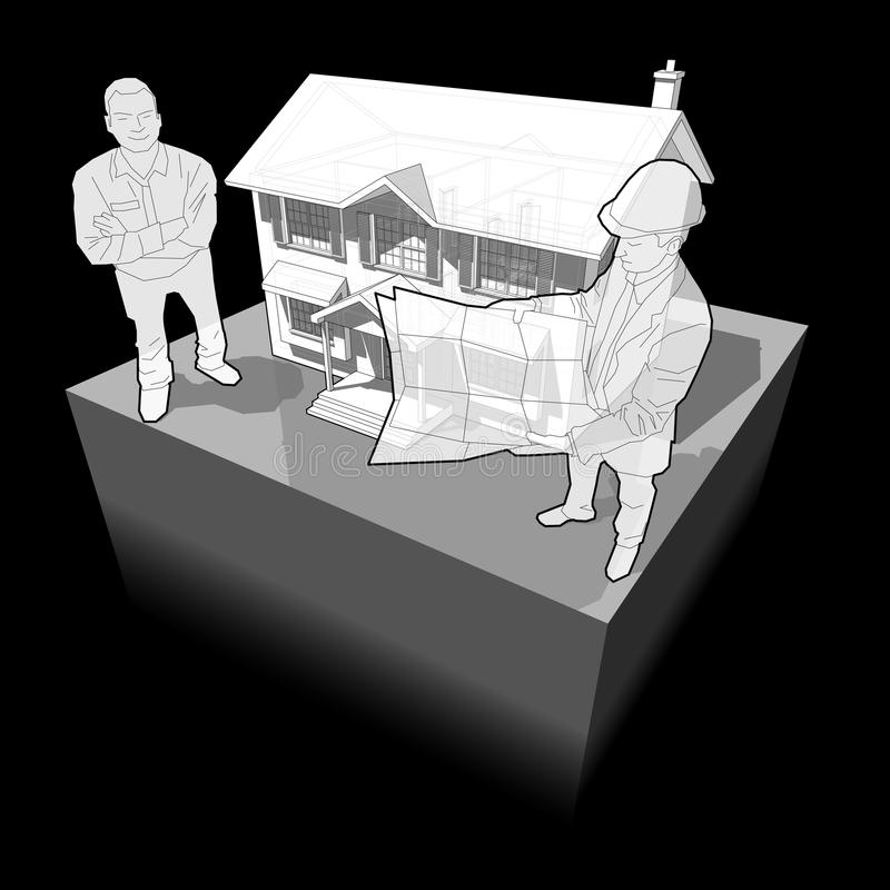 Diagrama de uma casa e de um arquiteto coloniais clássicos com cliente ilustração stock