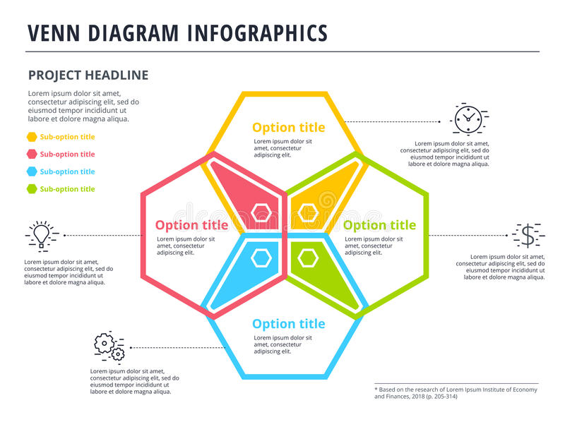 Diagrama de Venn con diseño de la plantilla del infographics de 4 círculos Vector ilustración del vector