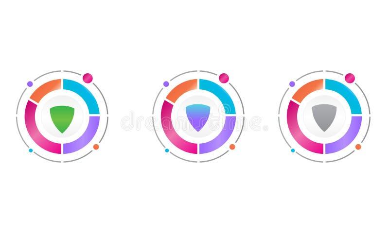 Diagrama del círculo con el icono del escudo de la protección Concepto del icono del vector stock de ilustración