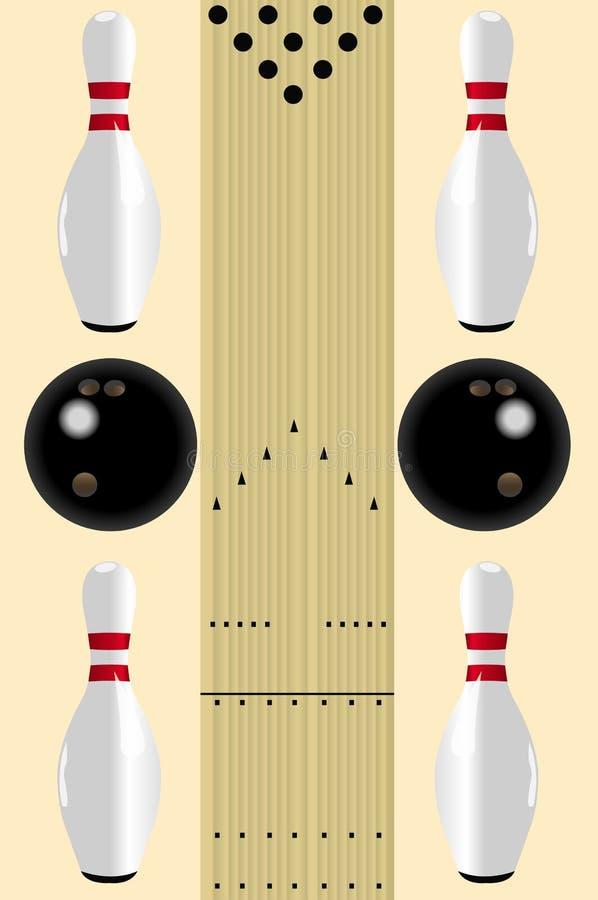 Diagrama del carril del bowling stock de ilustración