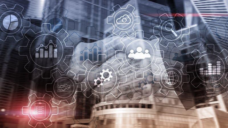 Diagrama del extracto del proceso de negocio con los engranajes y los iconos Concepto de la tecnología del flujo de trabajo y de  fotos de archivo libres de regalías