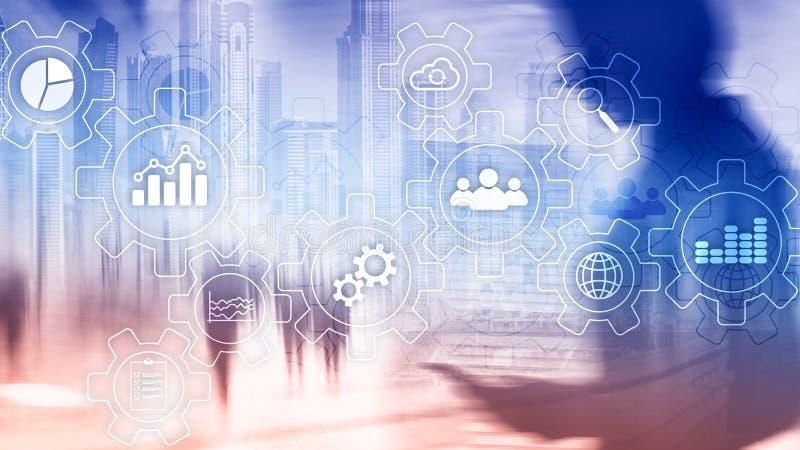 Diagrama del extracto del proceso de negocio con los engranajes y los iconos Concepto de la tecnología del flujo de trabajo y de  imagen de archivo libre de regalías