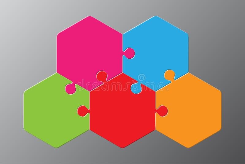 Diagrama del hexágono del rompecabezas de cinco pedazos Paso del rompecabezas 3 stock de ilustración
