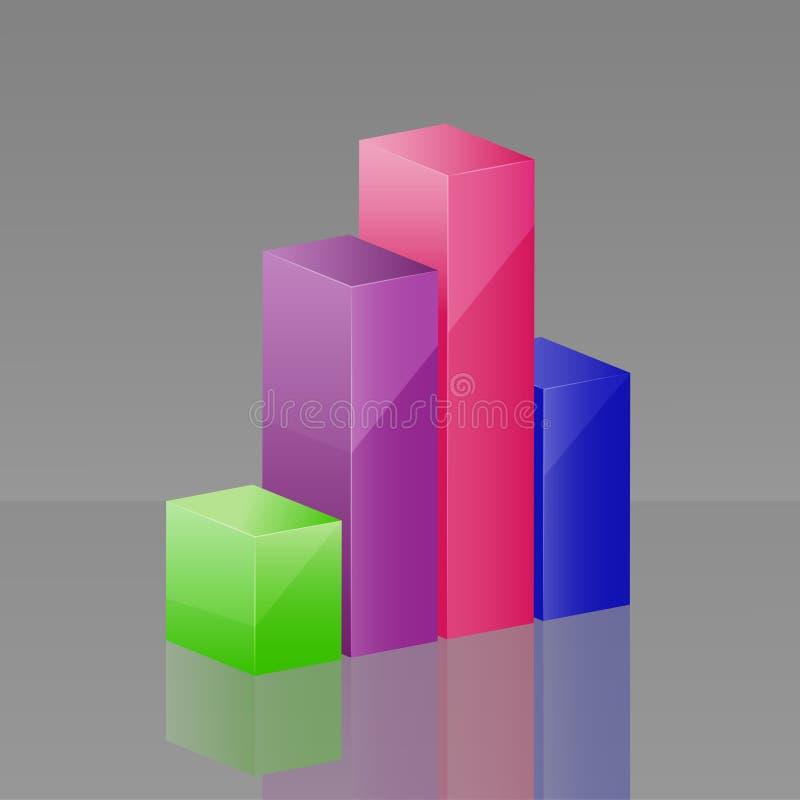Diagrama del icono 3d del vector que consiste en columnas Capas agrupadas para ilustración del vector
