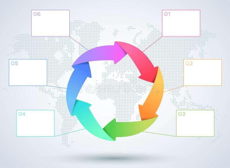 Diagrama del negocio de la flecha de Infographic 6 con el mapa del mundo stock de ilustración