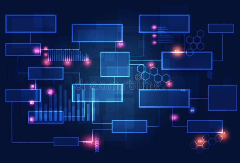 Diagrama del negocio del concepto de la tecnología stock de ilustración