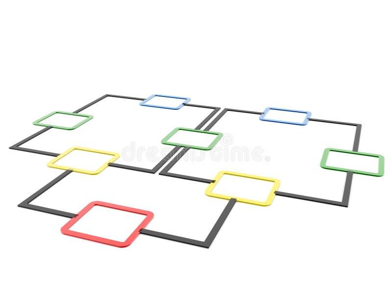 Diagrama del organigrama, planeando 3d rinden stock de ilustración