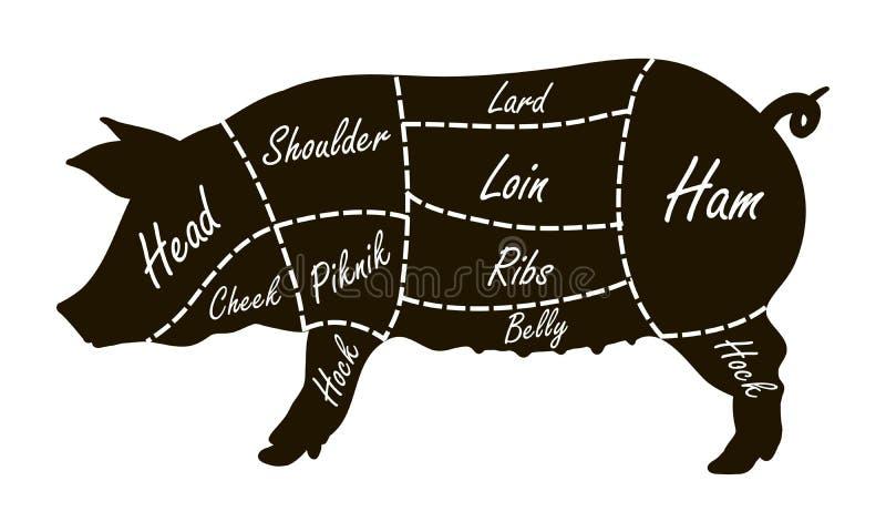 Diagrama do carniceiro dos cortes de carne de porco ilustração do vetor