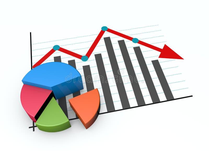 Diagrama do mercado empresarial para baixo ilustração do vetor