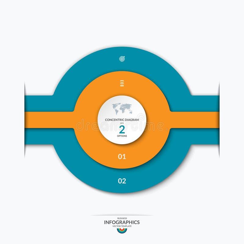 Diagrama dos círculos concêntricos para o infographics ilustração royalty free
