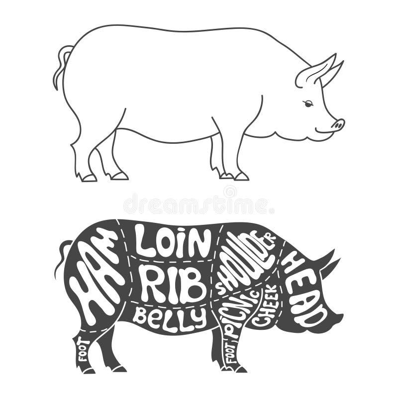 Diagrama dos cortes de carne de porco ilustração do vetor