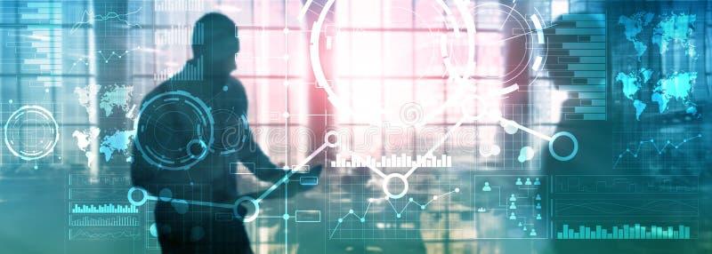 Diagrama e icono financieros del gráfico de la carta de la exposición doble de las técnicas mixtas del interfaz del negocio en la imágenes de archivo libres de regalías