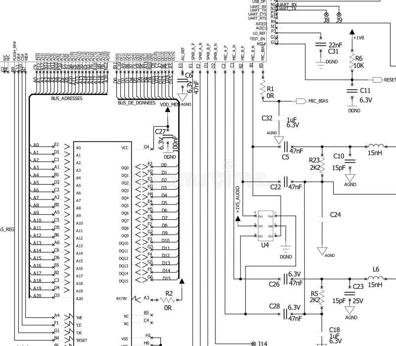 Diagrama Esquemático Del Circuito Electrónico Stock de ilustración ...