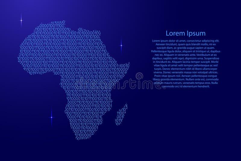 Diagrama esquemático do sumário do mapa de África dos azuis e dos di binários dos zero ilustração do vetor