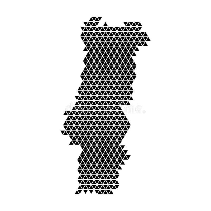 Diagrama esquemático do sumário do mapa de Portugal dos triângulos pretos que repetem o fundo geométrico do teste padrão connosco ilustração stock
