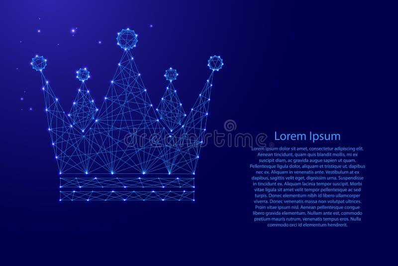 Diagrama esquemático imperial real do ícone da coroa das linhas azuis poligonais futuristas e das estrelas de incandescência para ilustração stock