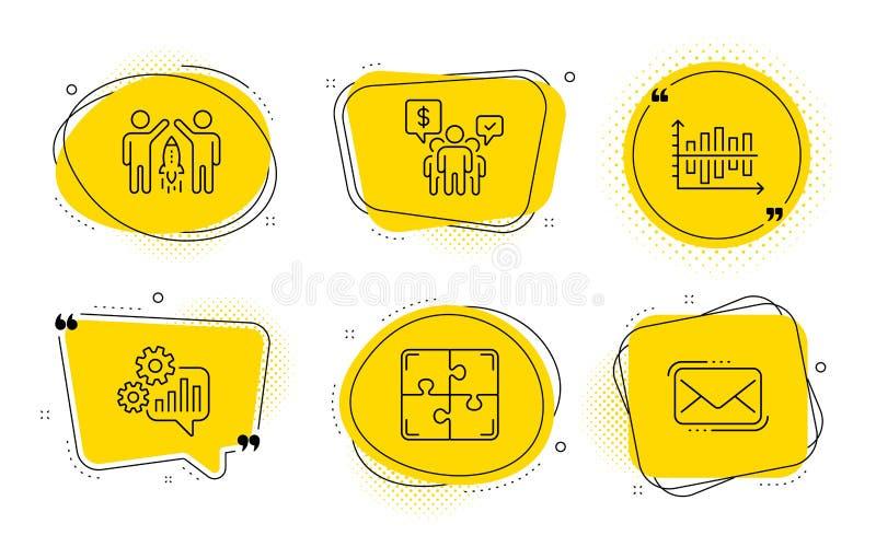 Diagrama gráfico, Trabalho em equipe e conjunto de ícones de quebra- cabeça Parcerias, CogWheel e sinais de correio do Messenger  ilustração do vetor