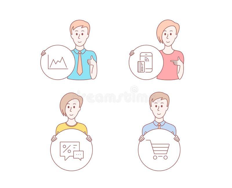 Diagrama, pago sin contacto e iconos de los descuentos Muestra de la venta del mercado Gráfico del crecimiento, dinero del teléfo libre illustration