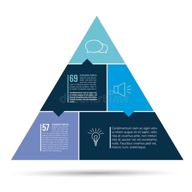 Diagrama passo a passo Triângulo liso com seções da cor Esquema do triângulo, carta, gráfico, bandeira das opções com peças ilustração do vetor