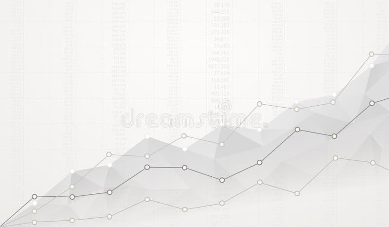 Diagrama poligonal financeiro com gráficos de ascensão no branco para trás ilustração stock