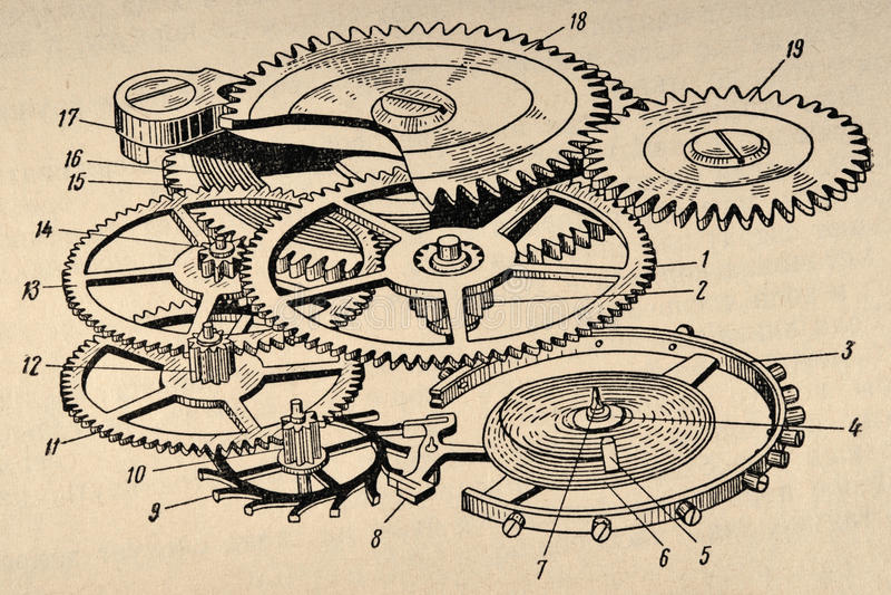 Diagrama velho do maquinismo de relojoaria imagem de stock royalty free