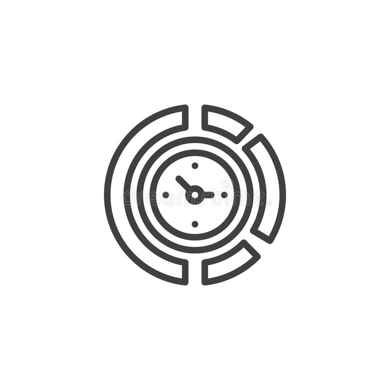 Diagrama zegaru konturu ikona ilustracji
