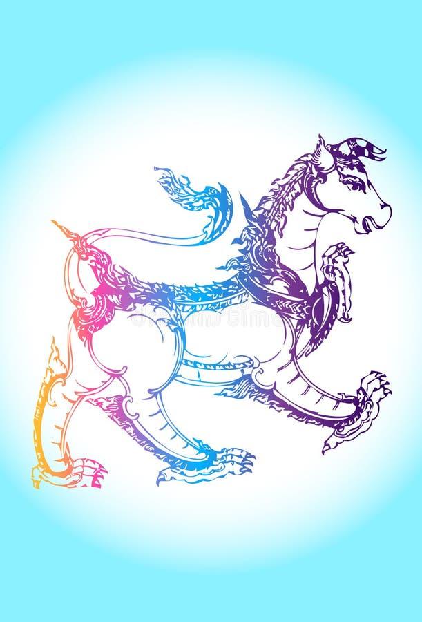 Vägg- Thailand halv lion, halv tjur stock illustrationer