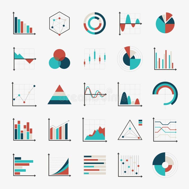 Diagramas de cartas e iconos planos de los gráficos ilustración del vector