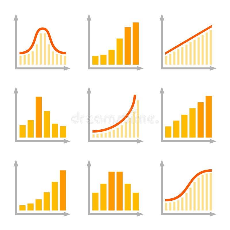 Diagramas de cartas e iconos planos de los gráficos fijados Vector ilustración del vector