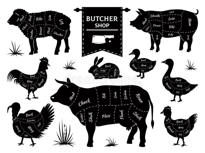 Diagramas do carniceiro Cortes animais da carne, silhuetas dos animais domésticos do galo do cordeiro do coelho do porco da vaca  ilustração royalty free
