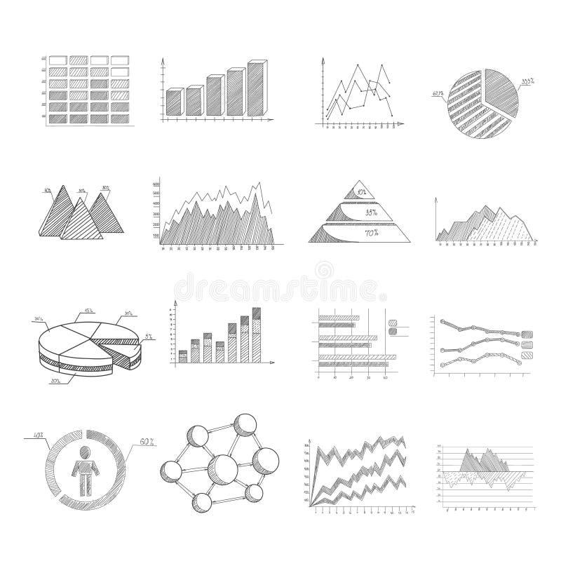 Diagramas do esboço ajustados ilustração stock